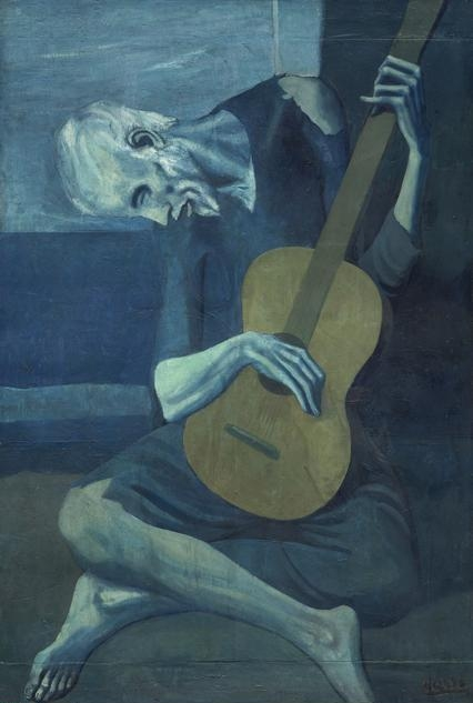 Pablo  Picasso, (1881-1973) © ARS, NY    The Old Guitarist , late 1903-early 1904. Oil on panel, 48 3/8 x 32 1/2 in. (122.9 x 82.6 cm). Helen Birch Bartlett Memorial Collection, 1926.253.    Location:  The Art Institute of Chicago, Chicago, U.S.A.    Photo Credit:  The Art Institute of Chicago / Art Resource, NY    Image Reference:  ART527014