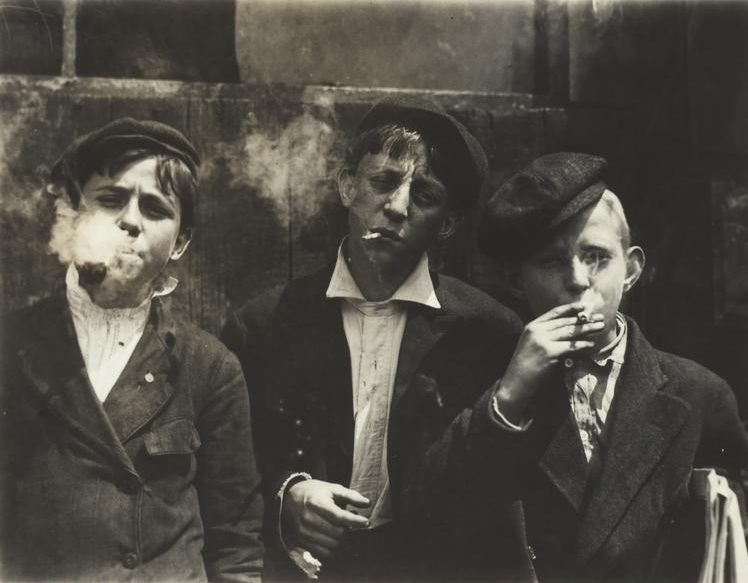 Lewis Wickes  Hine, (1874-1940)    Newsies at Skeeter Branch, St. Louis, Missouri, 11:00 a.m., May 9, 1910 . Gelatin silver print, 8.9 x 11.5 cm (image); 12.6 x 17.8 cm (paper). Restricted gift of Charles & Ruth Levy Foundation, 1974.216.    Location:  The Art Institute of Chicago, Chicago, U.S.A.    Photo Credit:  The Art Institute of Chicago / Art Resource, NY    Image Reference:  ART527137