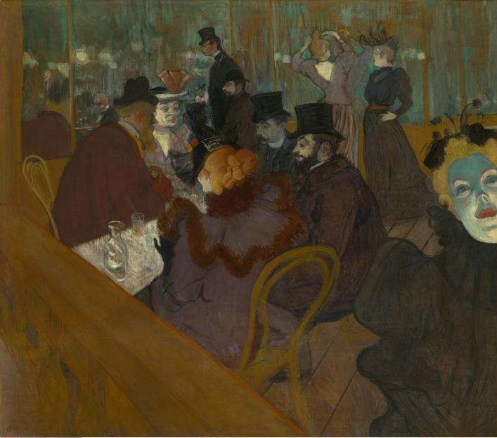 Henri de  Toulouse-Lautrec, (1864-1901)    At the Moulin Rouge , 1892/95. Oil on canvas, 123 x 141 cm (48 7/16 x 55 1/2 in.). Helen Birch Bartlett Memorial Collection, 1928.610.    Location:  The Art Institute of Chicago, Chicago, U.S.A.    Photo Credit:  The Art Institute of Chicago / Art Resource, NY    Image Reference:  ART527472