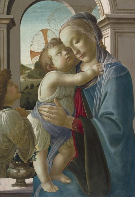 Sandro  Botticelli, (1444-1510)    Virgin and Child with an Angel , 1475/85. Tempera on panel, 33 3/4 x 23 1/4 in. (85.8 x 59.1 cm). Max and Leola Epstein Collection, 1954.283.    Location:  The Art Institute of Chicago, Chicago, U.S.A.    Photo Credit:  The Art Institute of Chicago / Art Resource, NY    Image Reference:  ART528149