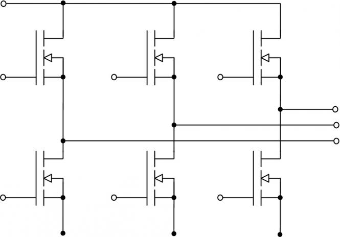 The diagram for the inverter bridge, with the three phased output to the right.