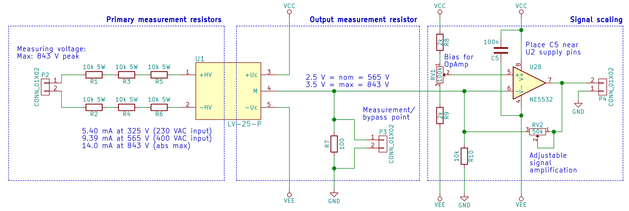 The signal path from left to right:  Main voltage connection, step-down resistors, voltage sensor (U1), measurement resistor, opamp with potmeter for bias and scaling. The last plug is the output to ADC.