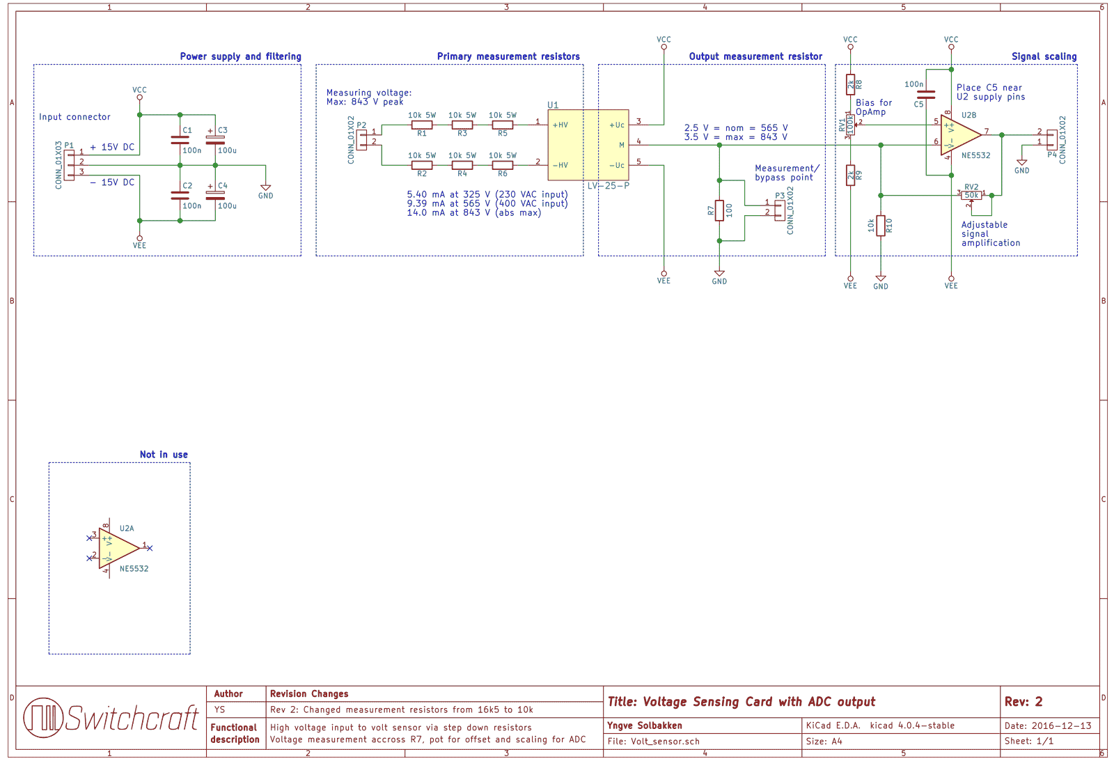 Full schematic of the voltage sensing card. The opamp in the lower left corner is the second opamp in the opamp chip which is not in use.