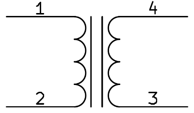 Schematic symbol for a simple transformer. The vertical lines indicate a solid iron core.