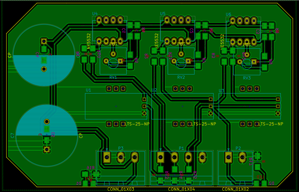 The layout of the current sensing PCB. All tracks are routed on the bottom layer.