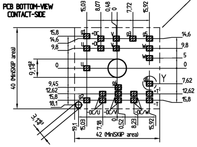 CAD drawing of the MiniSKiiP1 inverter module as per SEMIKRON datasheet
