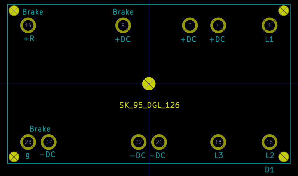 The SEMITOP3 rectifier module's footprint as designed in KiCad footprint editor. Notice that the pins are mirrored horizontally as it is a through-hole component and thus should be connected at the reverse side of the PCB. The yellow circle in the center is for the mounting screw while the four solid yellow circles in the corner are for mounting pins.
