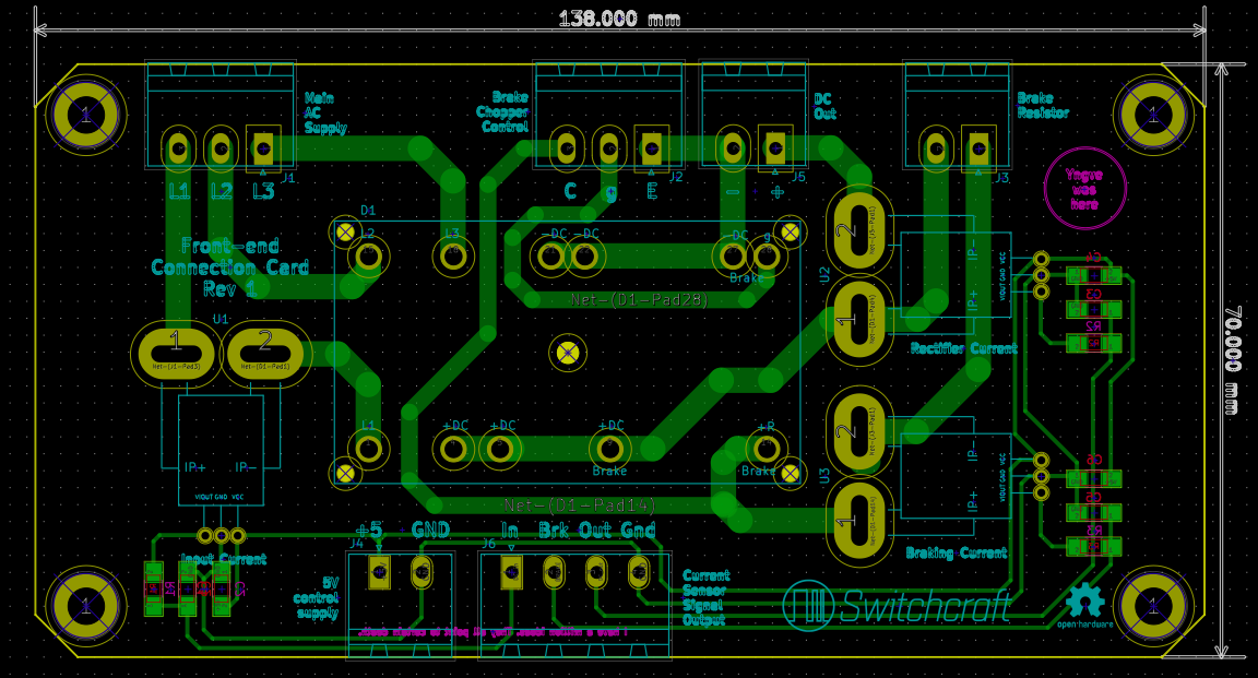 Trace and component layout of the rectifier module as designed in KiCad.