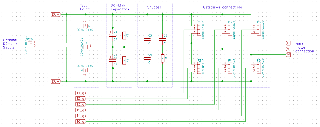 The inverter PCB interface schematic, showing connectors for DC-input (optional), motor output, gate driver connection, DC-link direct connection with discharge resistor and snubber circuit.