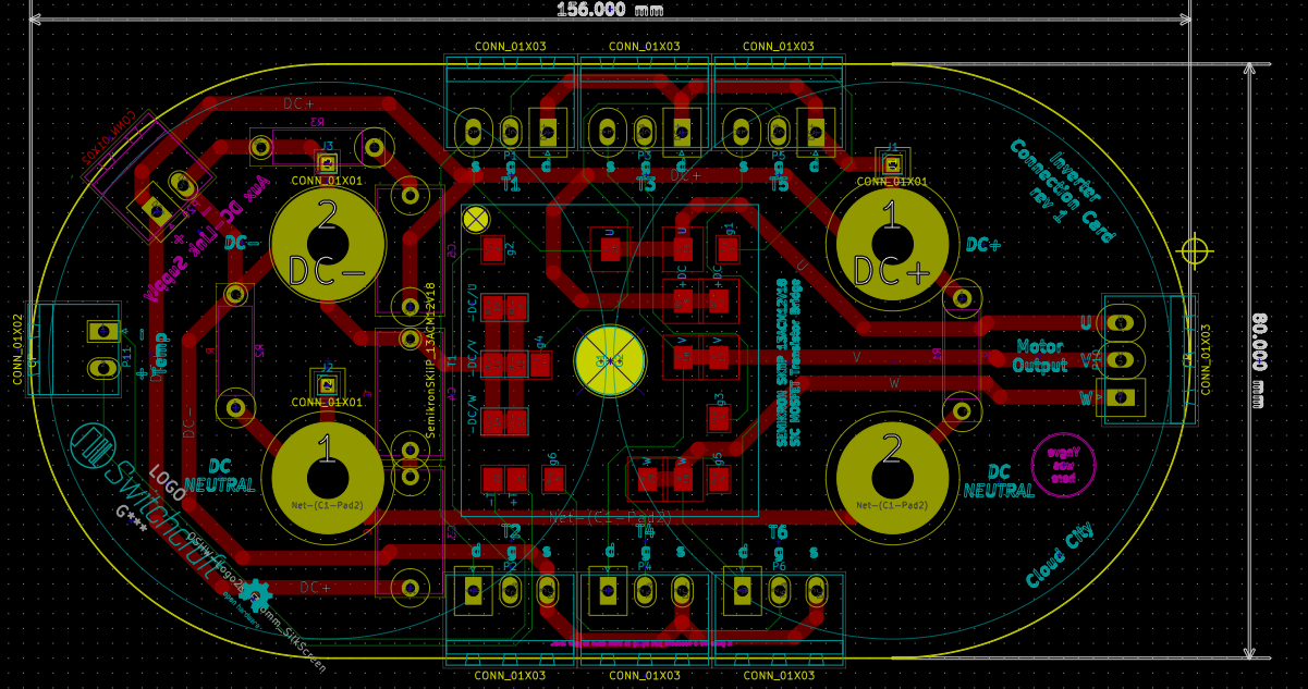 The PCB layout of the inverter interface. Red tracks are on the PCB top side, while the green tracks are on the reverse side.