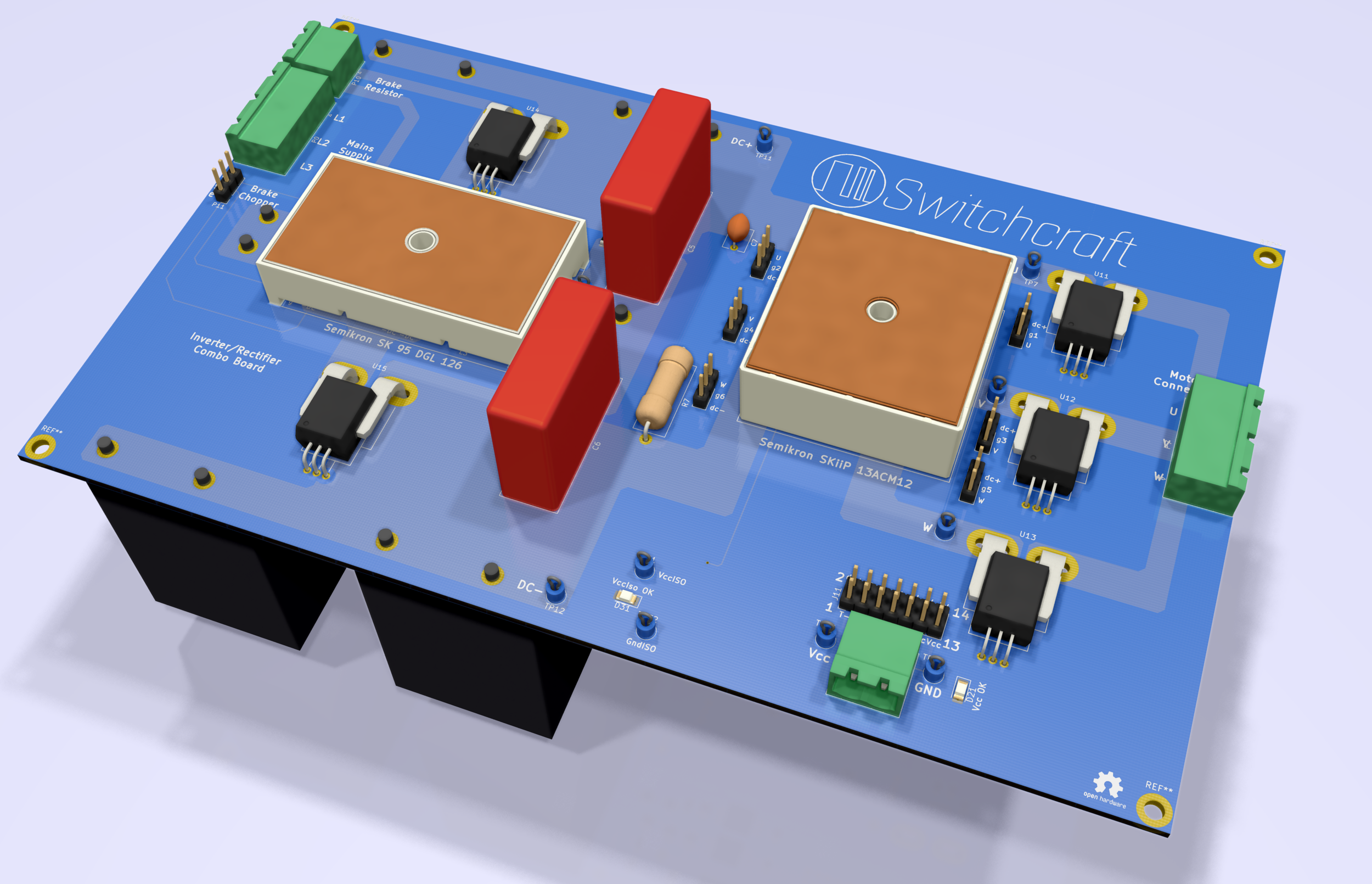 Top view 3D-render. The rectangle to the left is the rectifier with a current sensor above and below. The two red office-building-like components are snubber capacitors. The black boxes on the bottom side are main DC-link capacitors while the square, white box with a copper roof at the right is the SiC transistor module with three current sensors sitting next to it.