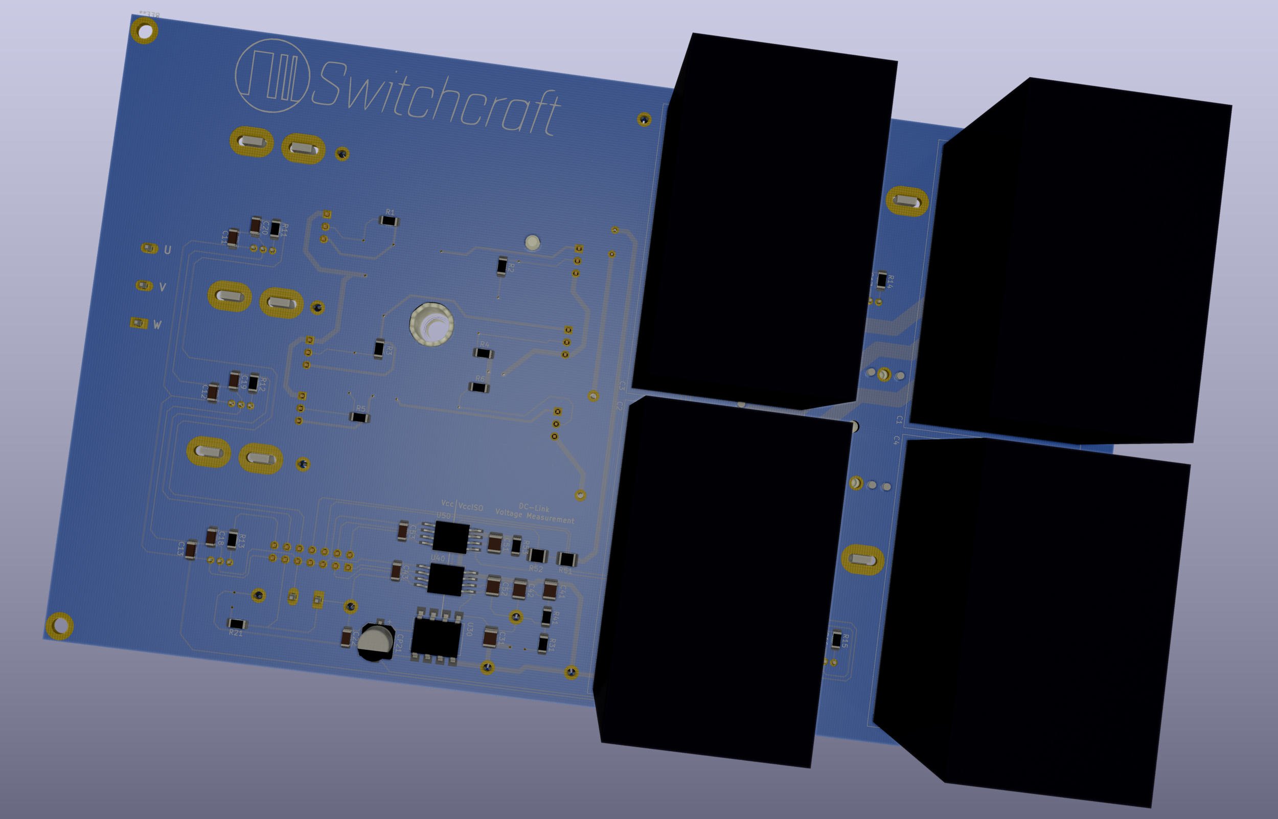The bottom side of the PCB contains most of the components used for the current- and voltage sensing. Also, of course, the DC-link capacitors.