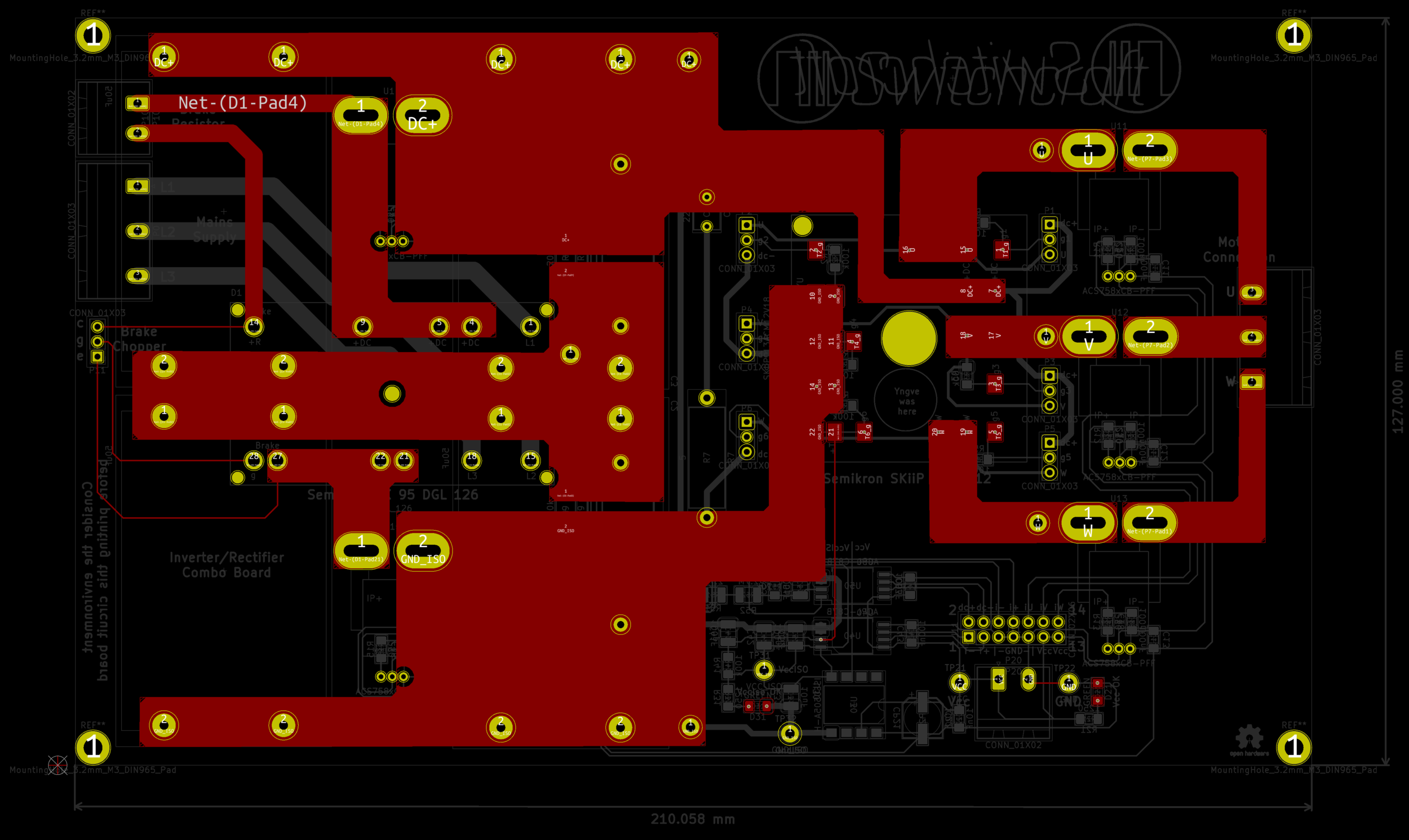 This view highlights all the electrical connections on the top side. Here, the zones are very visible, the two largest ones are DC+ and DC- zones, while the three to the right are motor output zones to the motor terminal connector. The two small zones to the left are also DC+/-,but before the current sensor.