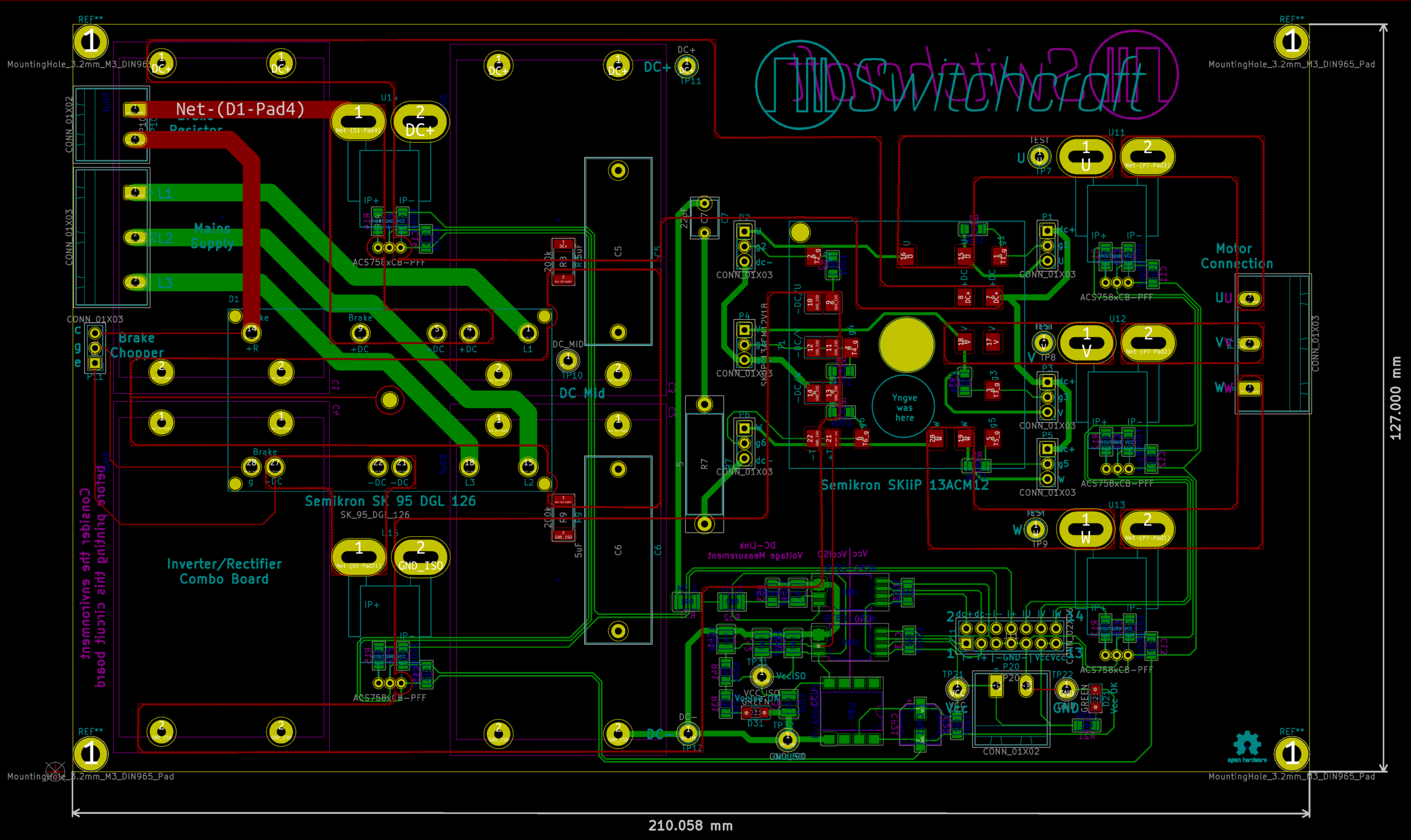 The PCB layout, showing all layers. Green are electrical connections (routes)located at the bottom side of the board while red are connections on the top side. The yellow circles all around are mounting holes with electrical connections to components with pins. One notable exception is the filled, yellow circle near the center of the board - this is a mounting hole for the transistor module.
