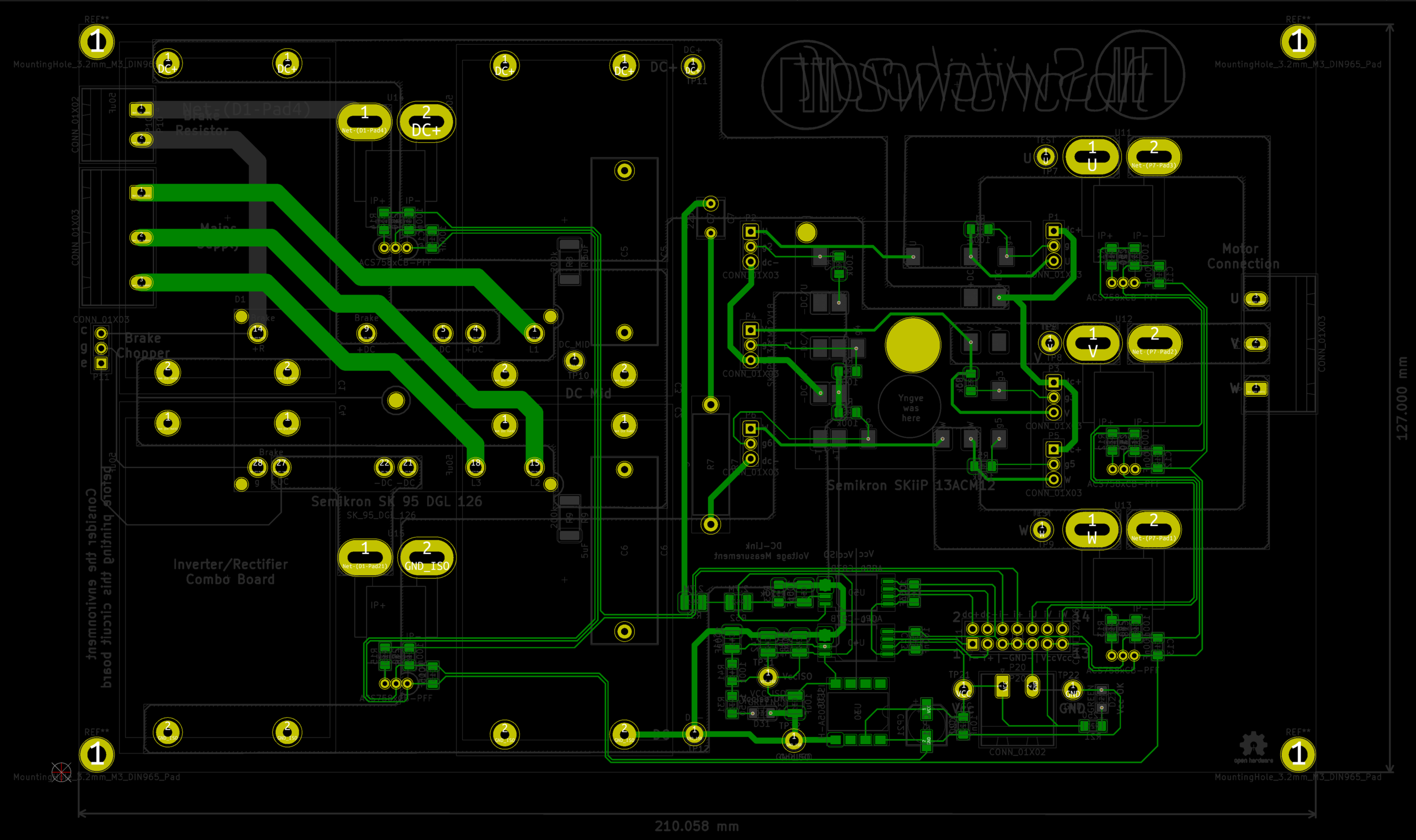 This view highlight the connections on the bottom side. Mostly control circuitry, but the thick ones in the upper left corner belongs to the main AC supply into the rectifier.