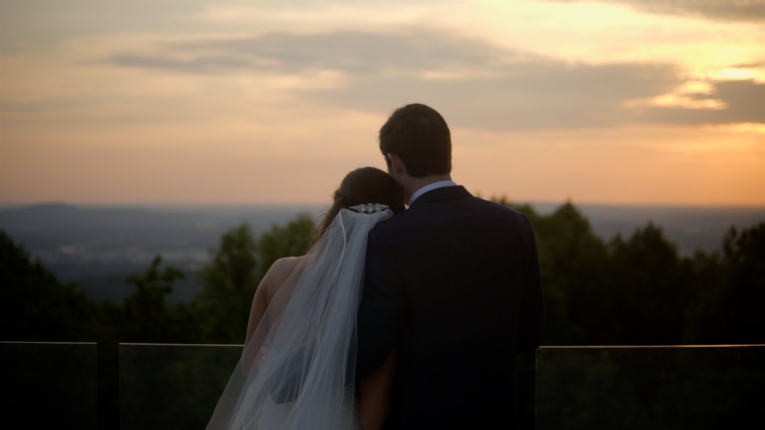 Lyndsey & Drew during sunset at Burritt on the Mountain in Huntsville