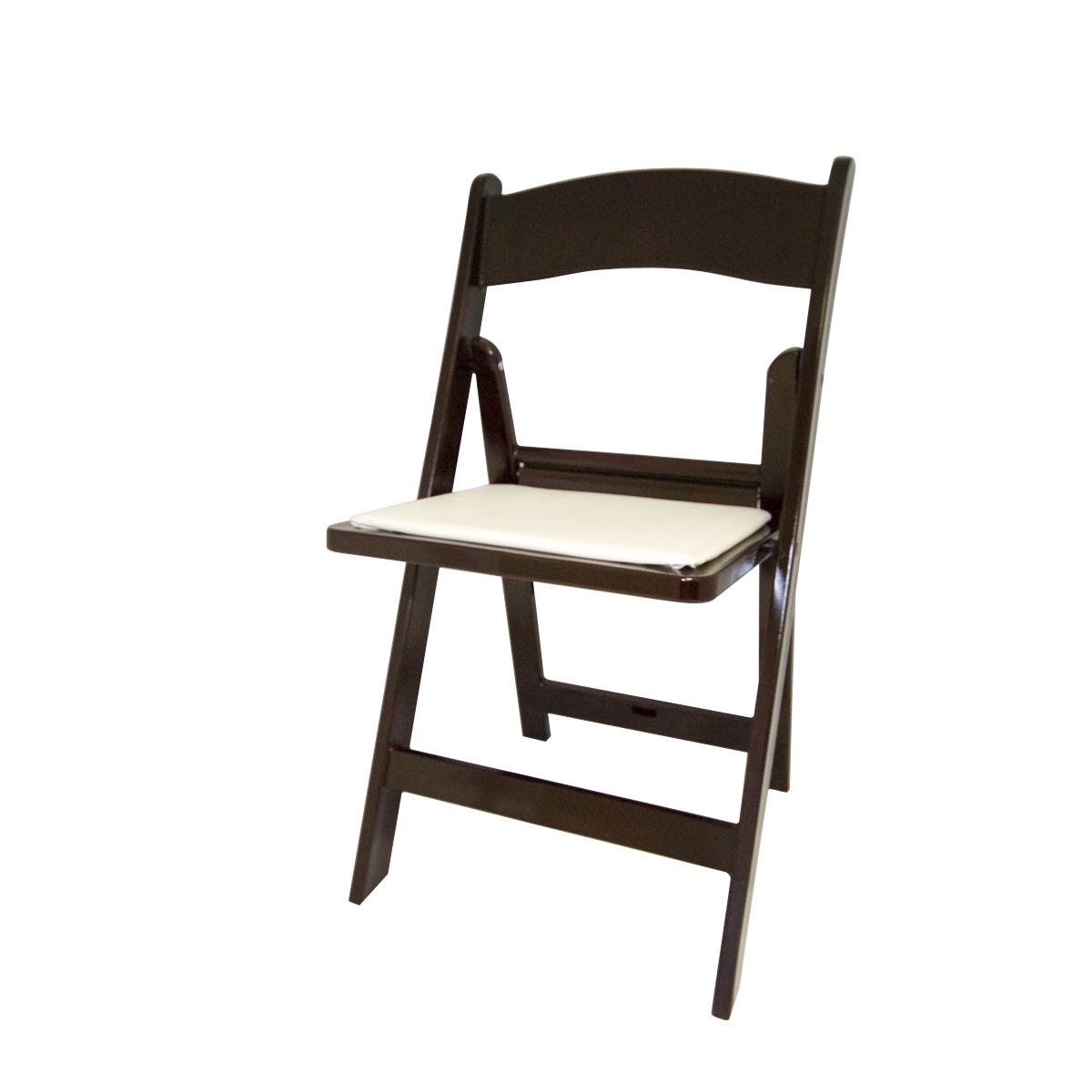 Mahogany Folding Chair with Ivory Cusion