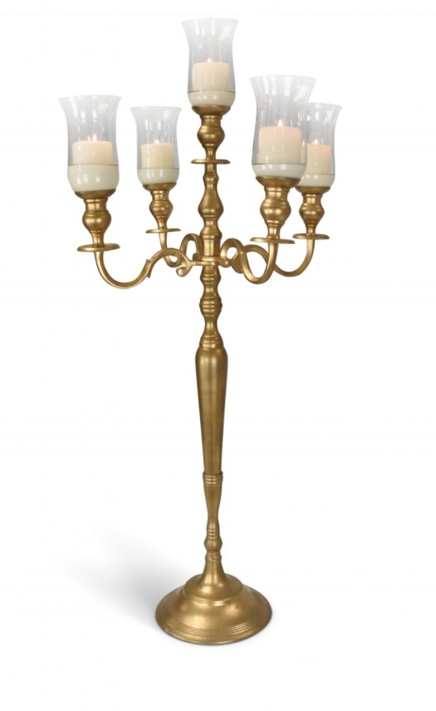 Antique Gold Candelabra for Short Candle