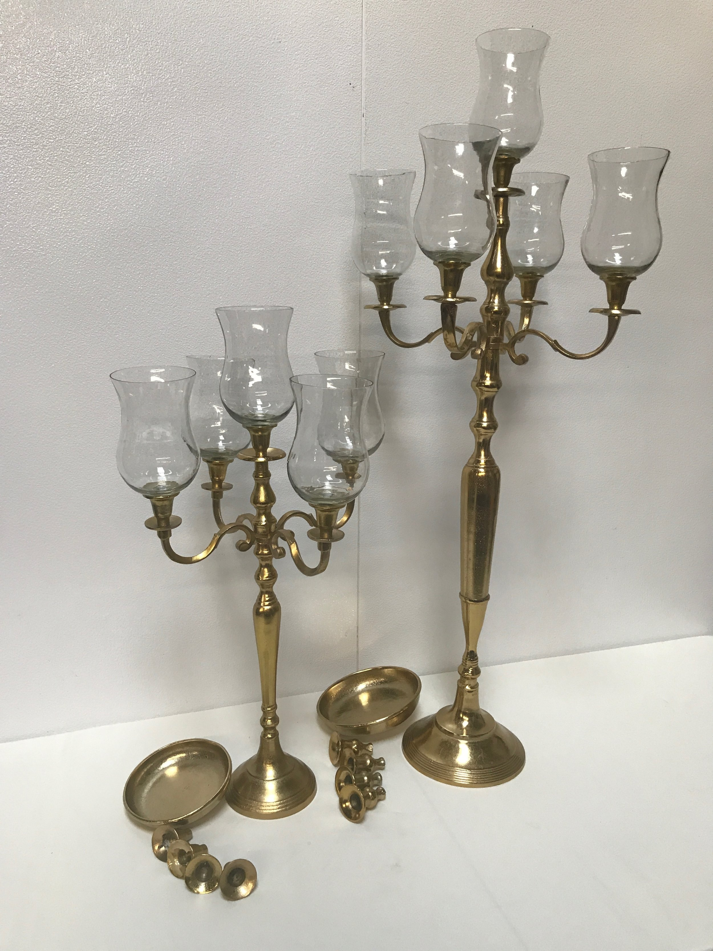 "Gold & Glass Candle Stand - 24"", 40"""