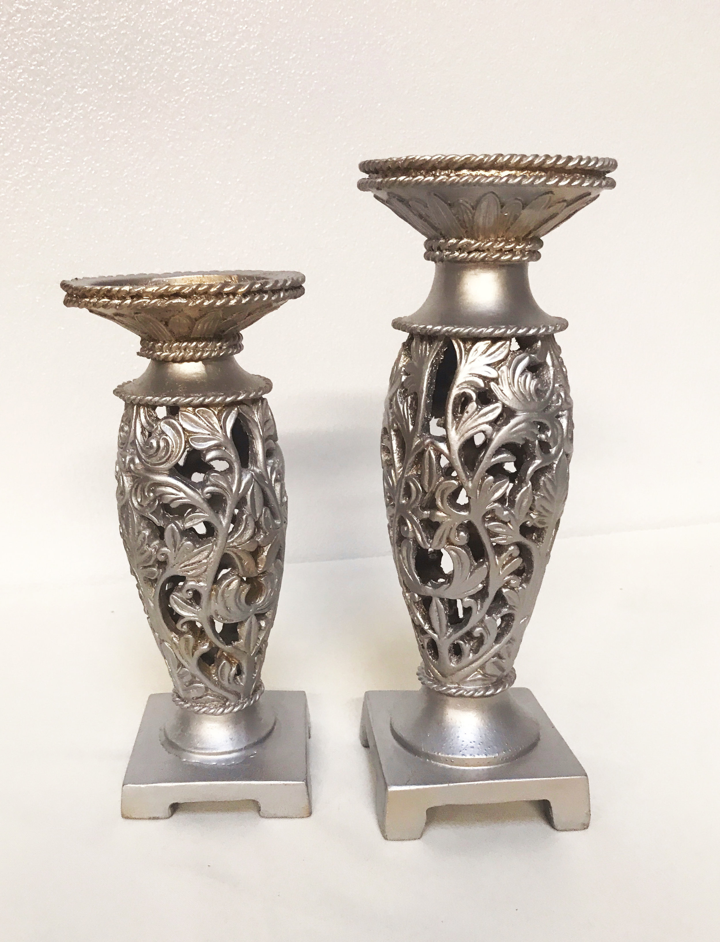 Silver Wood Candle Stand