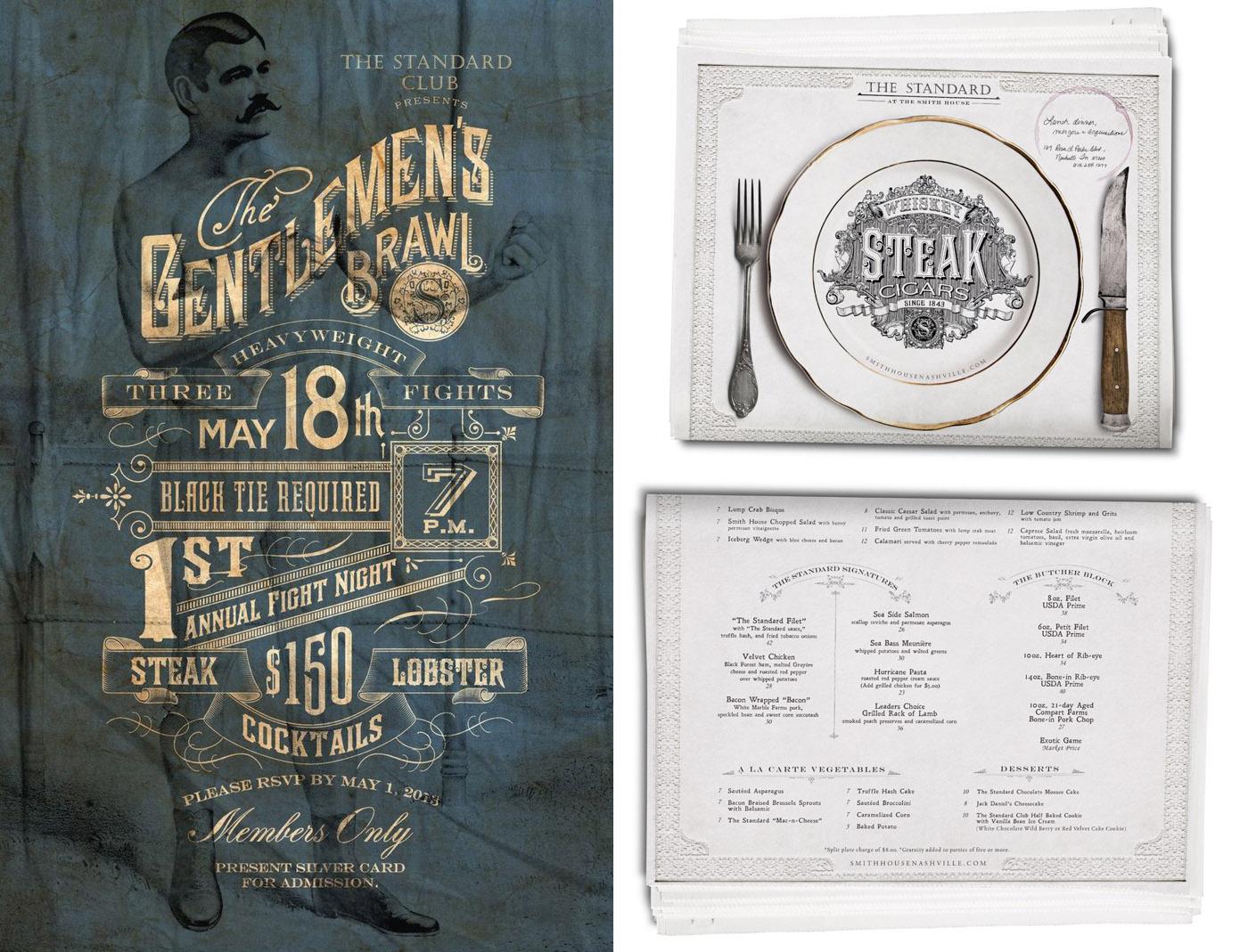 "bohan | The Standard ""gentleman's Brawl"" poster and restaurant menu"