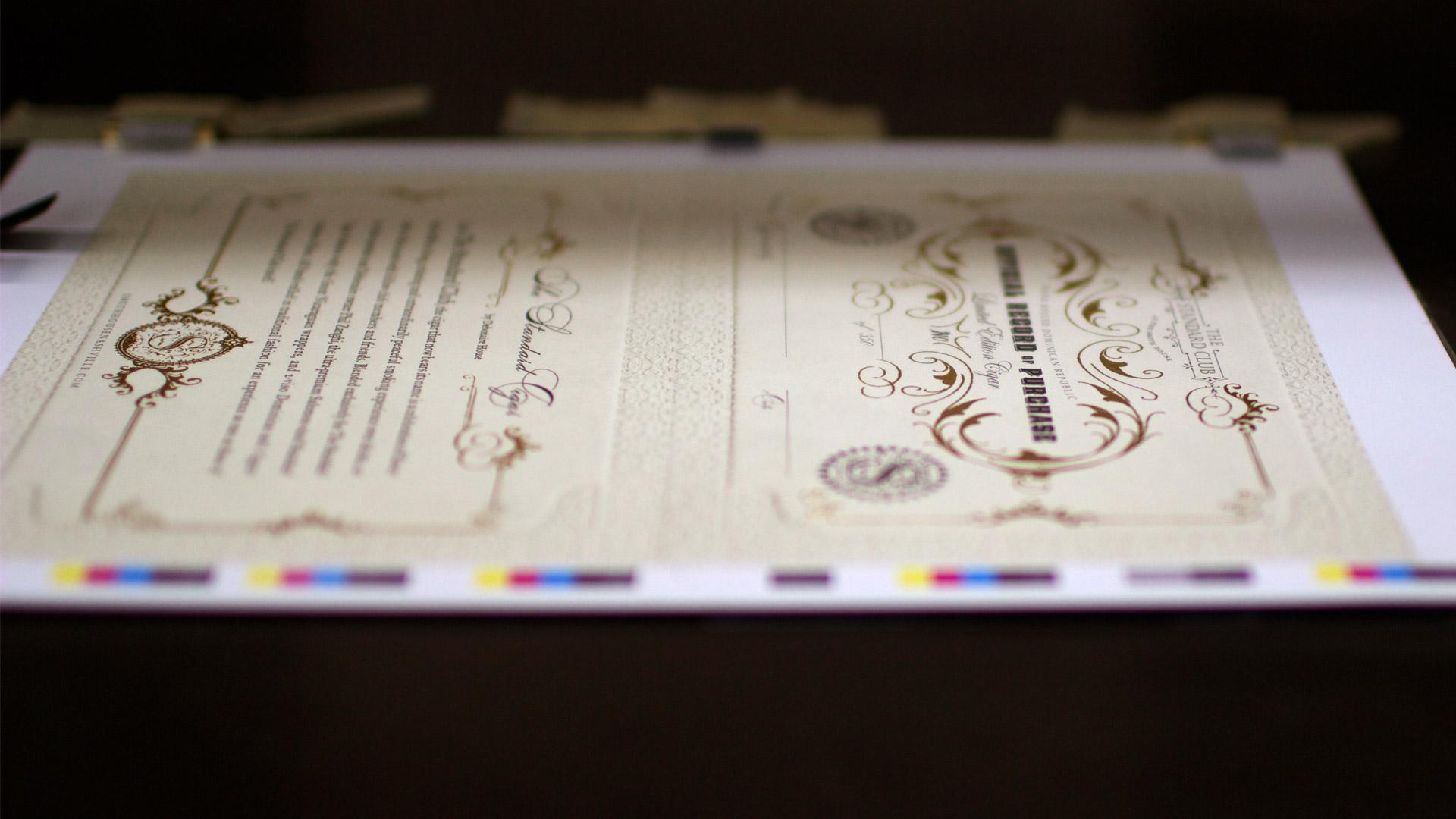 bohan | The Standard certificate on press