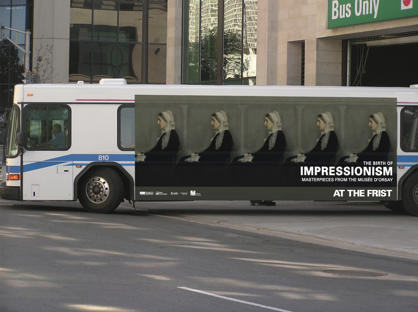 bohan-Frist Impressionism bus wrap. Whistler's Mother.