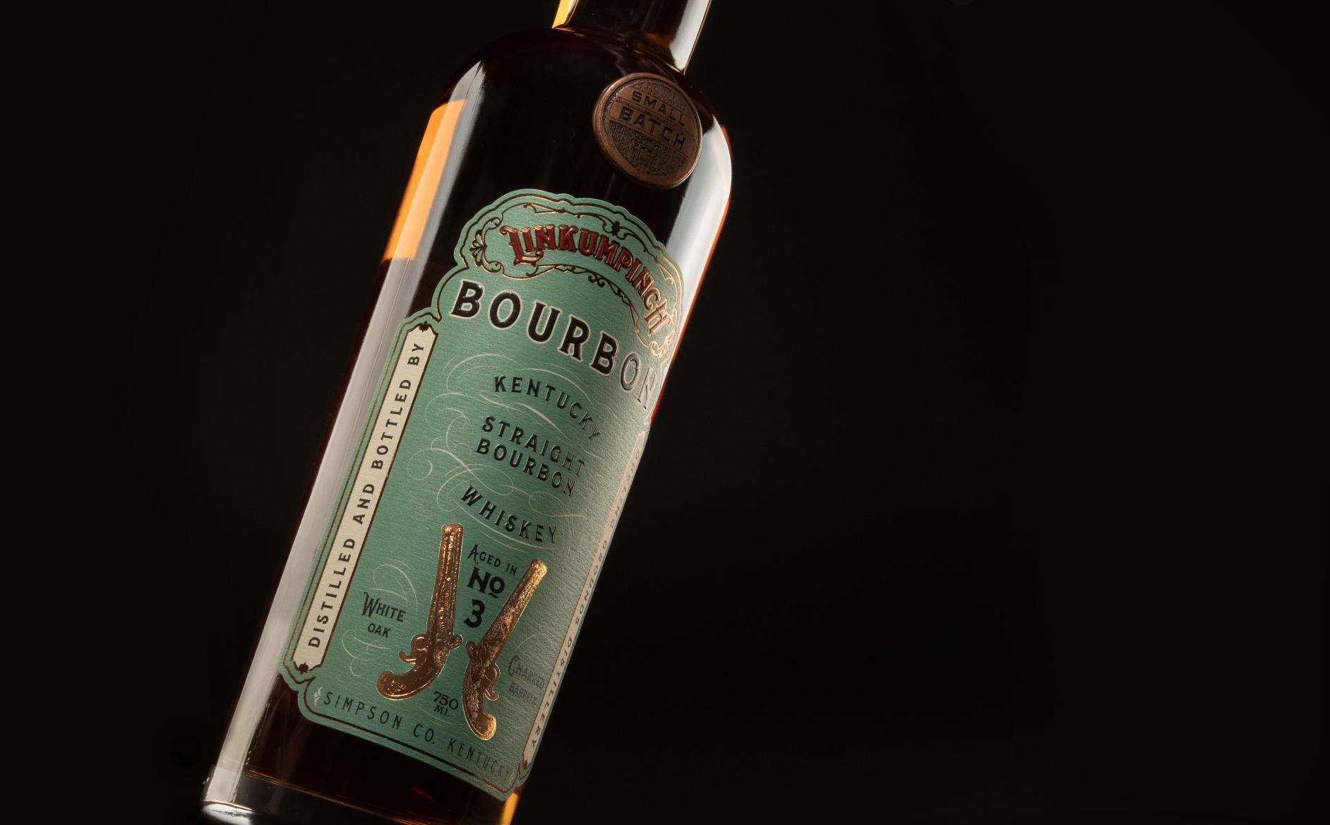 bohan | CPG | Vintage green and gold foil bourbon label.