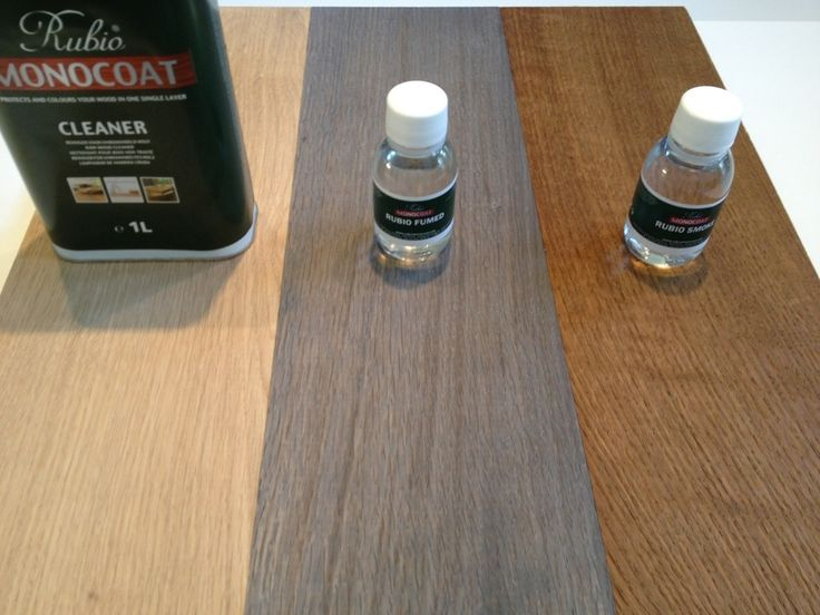 Comparison of Rubio monocoat fumed and smoked. fume greys the wood while smoked ages the wood.