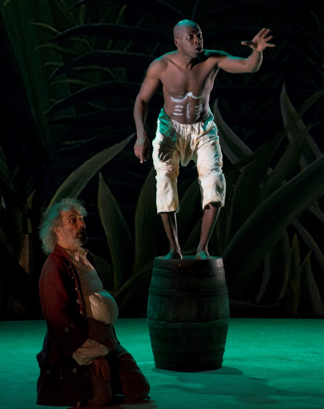 SEPTEMBER - OCTOBER  Rehearsals for Shakespeare's   La Tempête.   Picture of    Stephano  and  Caliban  in action.