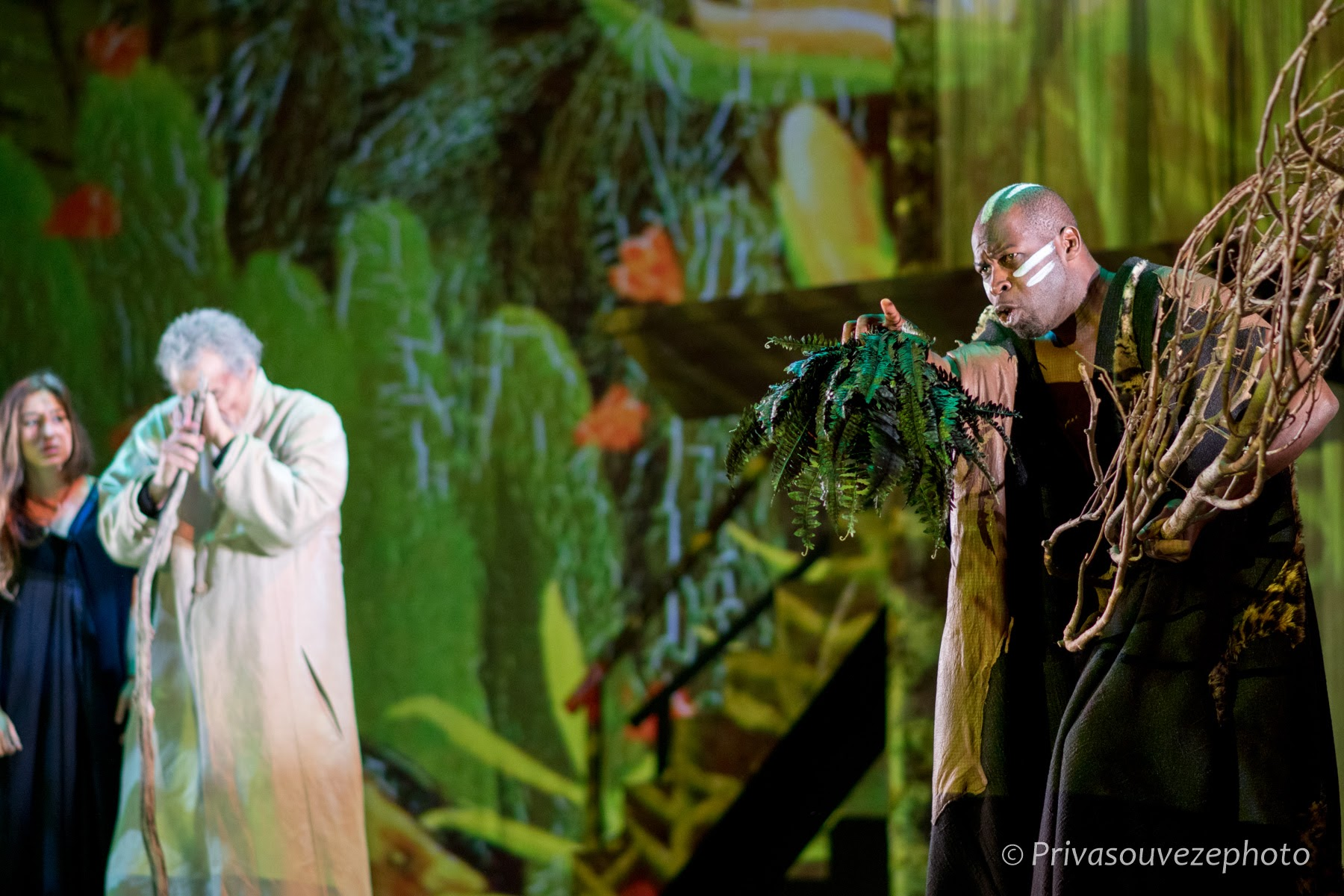 Josephine Berry as  Miranda,  Philippe Dusigne as  Prospero   and Hervé Goffings as  Caliban.