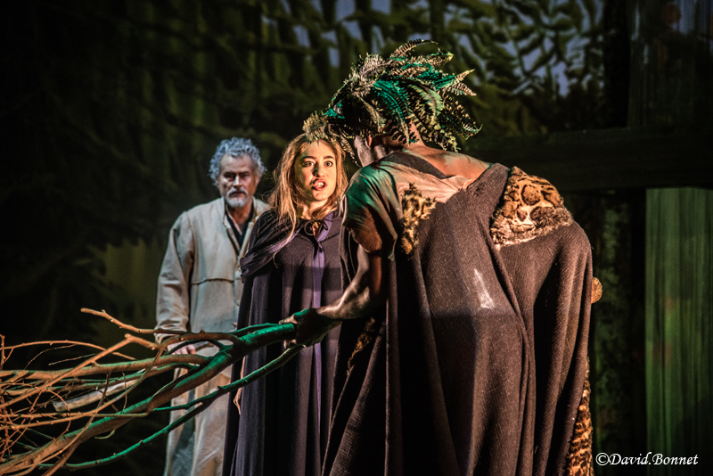 Philippe Dusigne as  Prospero , Josephine Berry as  Miranda  and Hervé Goffings as  Caliban.