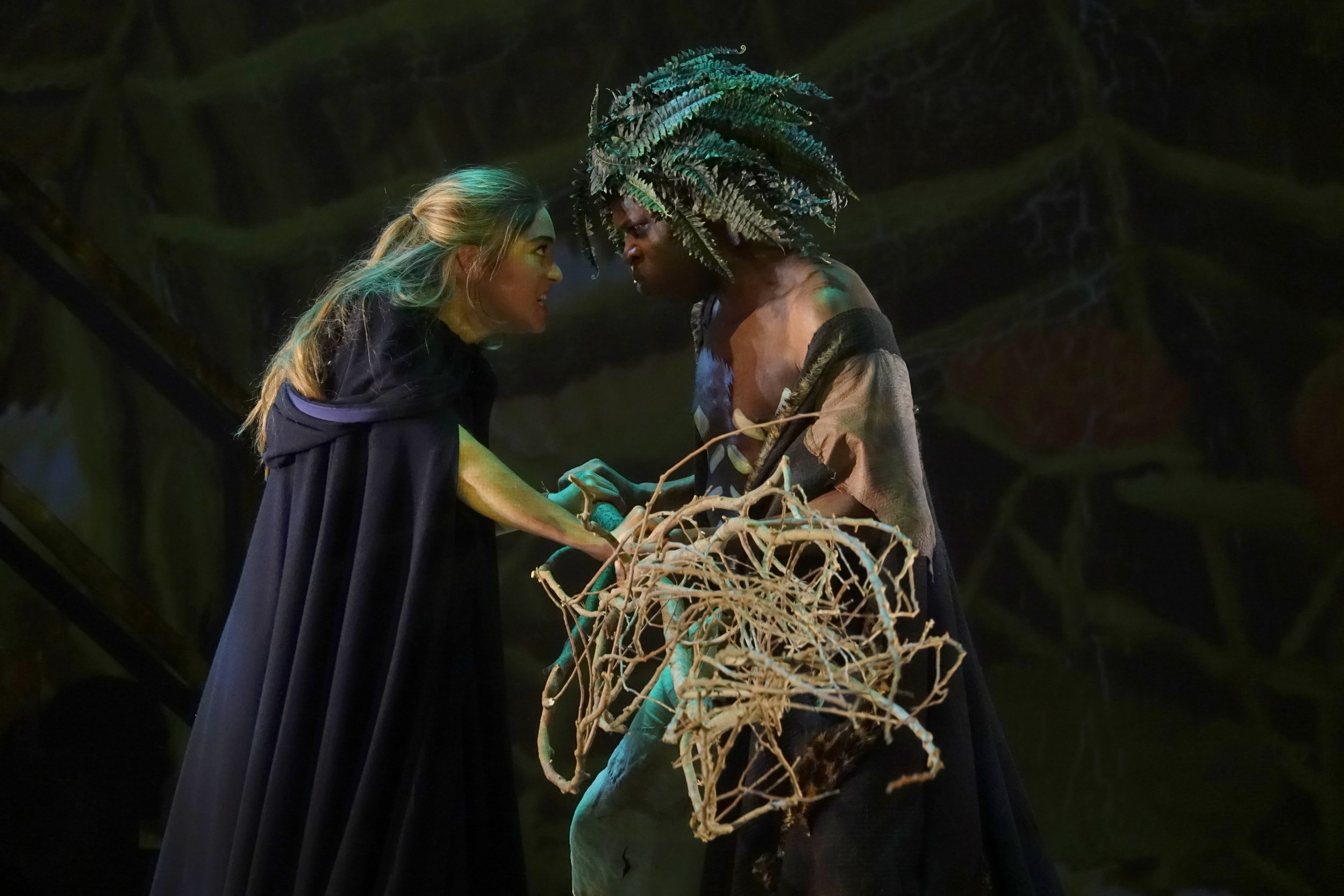 Josephine Berry as  Miranda  and Hervé Goffings as  Caliban.