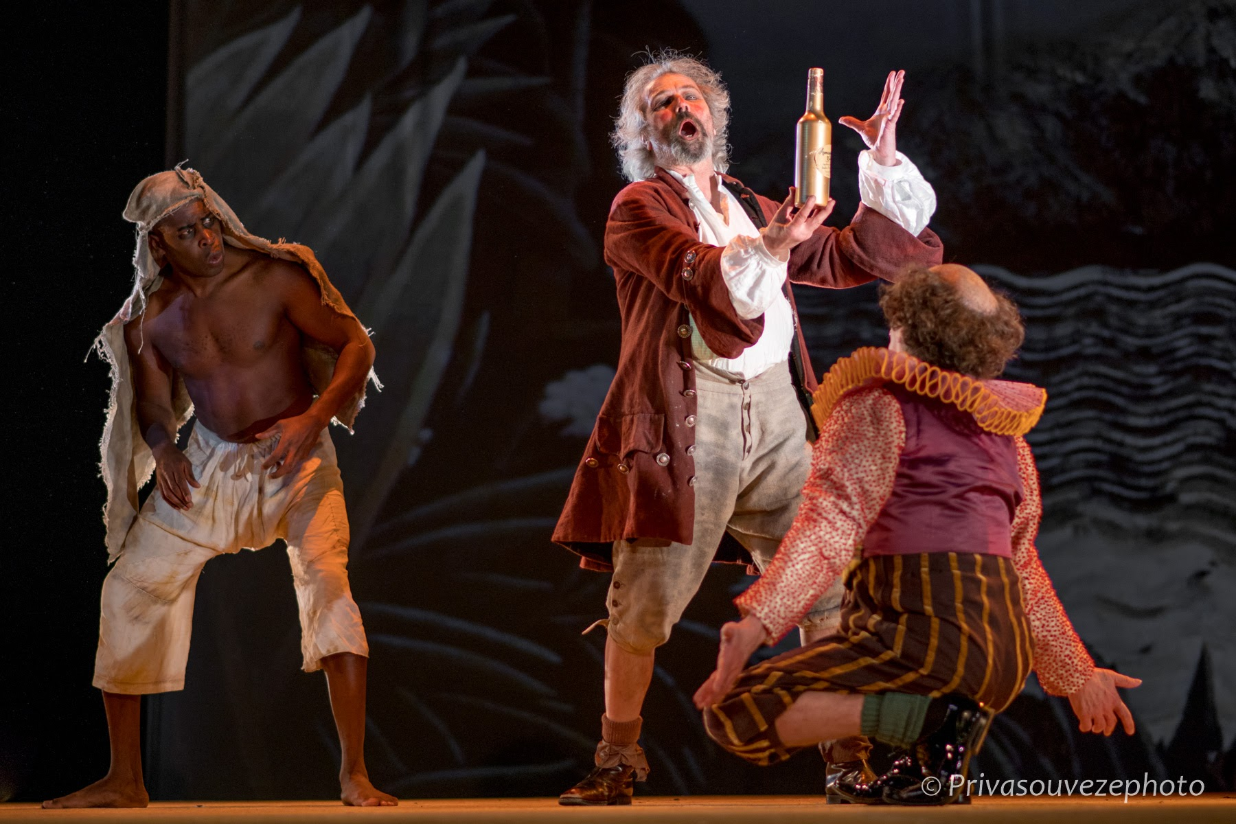 Hervé Goffings as  Caliban,  Stéphane Delbasse as  Trinculo  and Jean-Louis Fayollet as  Stephano .