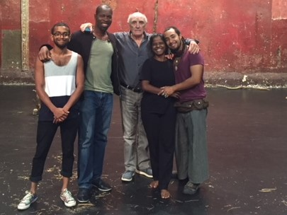 AUGUST  International cast of   The Prisoner.   Rehearsals took place at the Théâtre des Bouffes du Nord in Paris. From left to right:   Hiran Abeysekera ( Sri Lanka), me,  Donald Sumpter  ( as seen of   Game of Thrones ), Kalieaswari Srinivasan (seen in  Dheepan  which won the Palme d'Or at the International Film Festival,Cannes 2015) and Omar Silva (Mexico).
