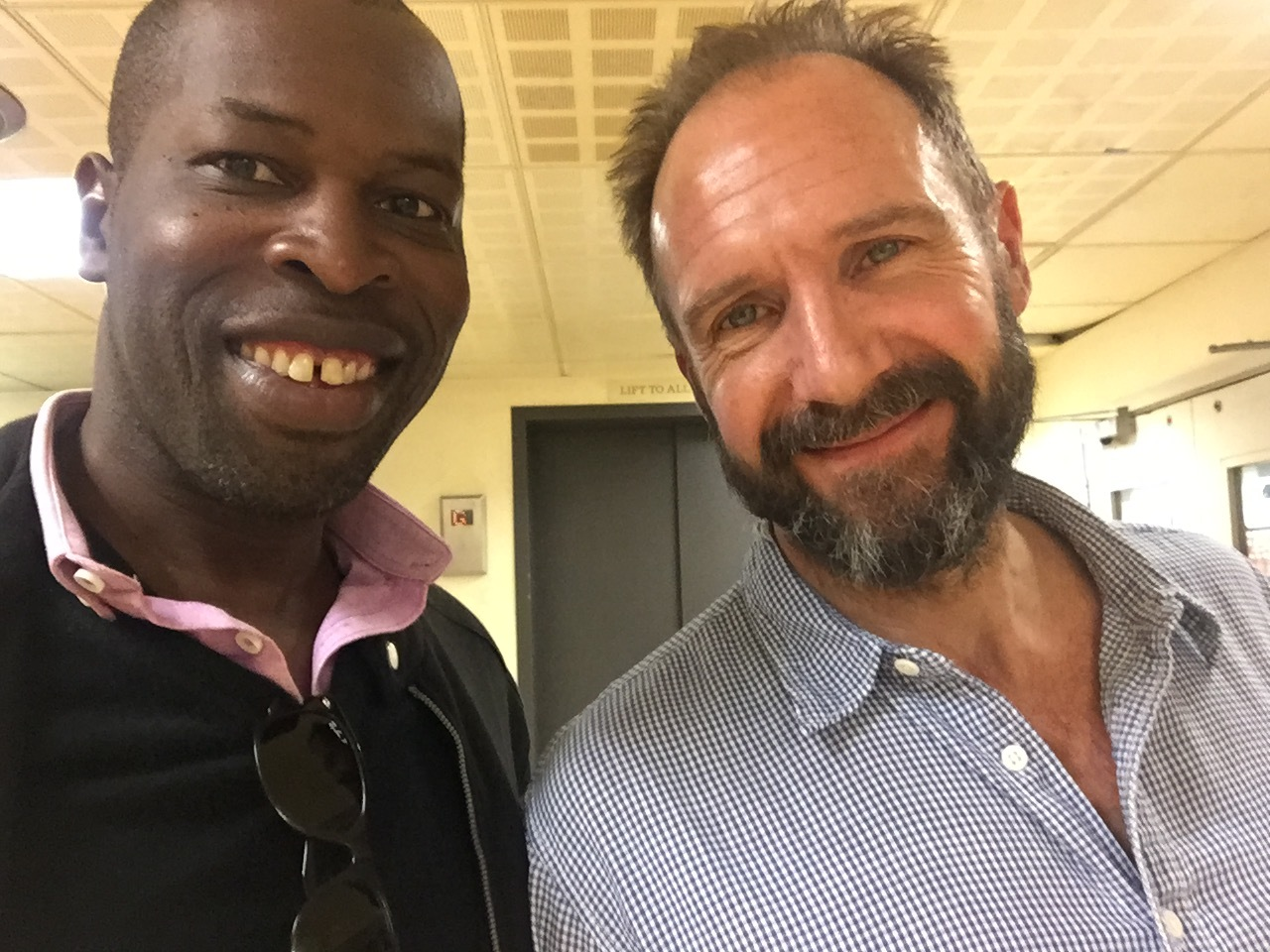 SEPTEMBER  Meeting with Ralph Fienes in the corridor of The National Theatre.   Ralph performing in  Cleopatra  and me in  The Prisoner.