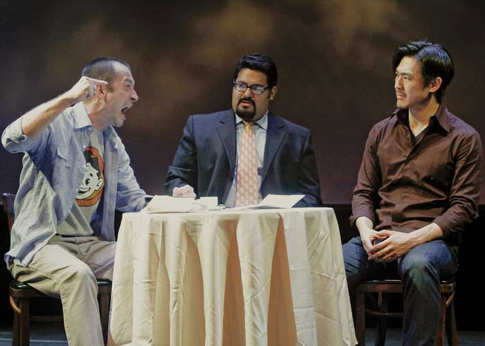 Jeff Binder, Mando Alvarado and James Chen in THE NEW TESTIMENT. Photo by Rahav Segev. Summer Shorts 2011.