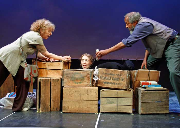 Kathryn Grody, Crystal Finn and Arthur French in SOME WOMEN IN THEIR THIRTIES SIMPLY START TO FALL. Photo by Rahav Segev. Summer Shorts 2011.