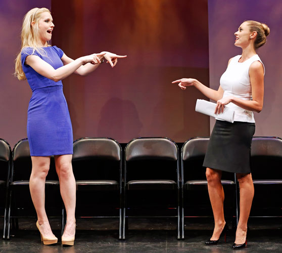 Gia Crovatin and Elizabeth Masucci in GOOD LUCK (IN FARSI). Photo by Carol Rosegg. Summer Shorts 2013.
