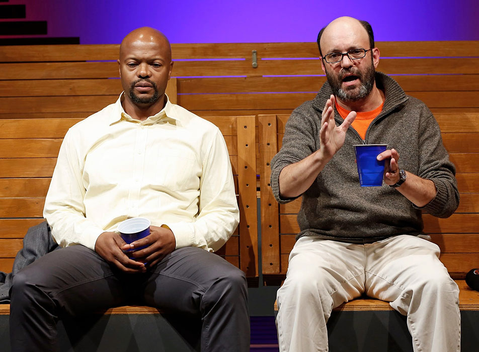 Cezar Williams and Geoffrey Cantor in SEC. 310, ROW D, SEATS 5 AND 6. Photo by Carol Rosegg. Summer Shorts 2014.