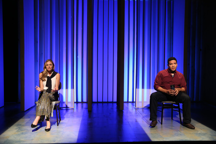 Elizabeth Masucci and Frank Harts in AFTER THE WEDDING by Neil LaBute, directed by Maria Mileaf, part of SUMMER SHORTS 2016, Series A at 59E59 Theaters. Photo by Carol Rosegg