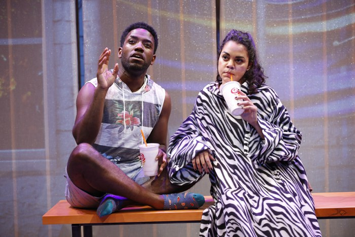 Chinaza Uche and Kerry Warren in THIS IS HOW IT ENDS by A. Rey Pamatmat, directed by Ed Sylvanus Iskandar, part of SUMMER SHORTS 2016, Series A at 59E59 Theaters. Photo by Carol Rosegg
