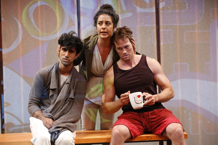 Sathya Sridharan, Nadine Malouf, and Patrick Cummings in THIS IS HOW IT ENDS by A. Rey Pamatmat, directed by Ed Sylvanus Iskandar, part of SUMMER SHORTS 2016, Series A at 59E59 Theaters. Photo by Carol Rosegg