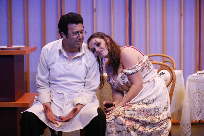 Saverio Tuzzolo and Casandera M.J. Lollar in QUEEN by Alexander Dinelaris, inspired by The Woman Who Came at Six O'Clock by Gabriel García Márquez, directed by Victor Slezak, part of SUMMER SHORTS 2016, Series B at 59E59 Theaters. Photo by Carol Rosegg