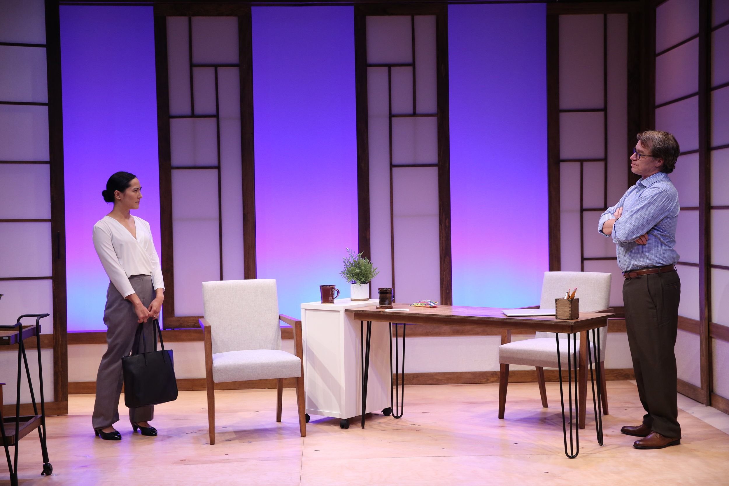 L-R: Jennifer Ikeda and Mark Boyett in A WOMAN by Chris Cragin-Day, part of Summer Shorts 2017 at 59E59 Theaters. Photo by Carol Rosegg