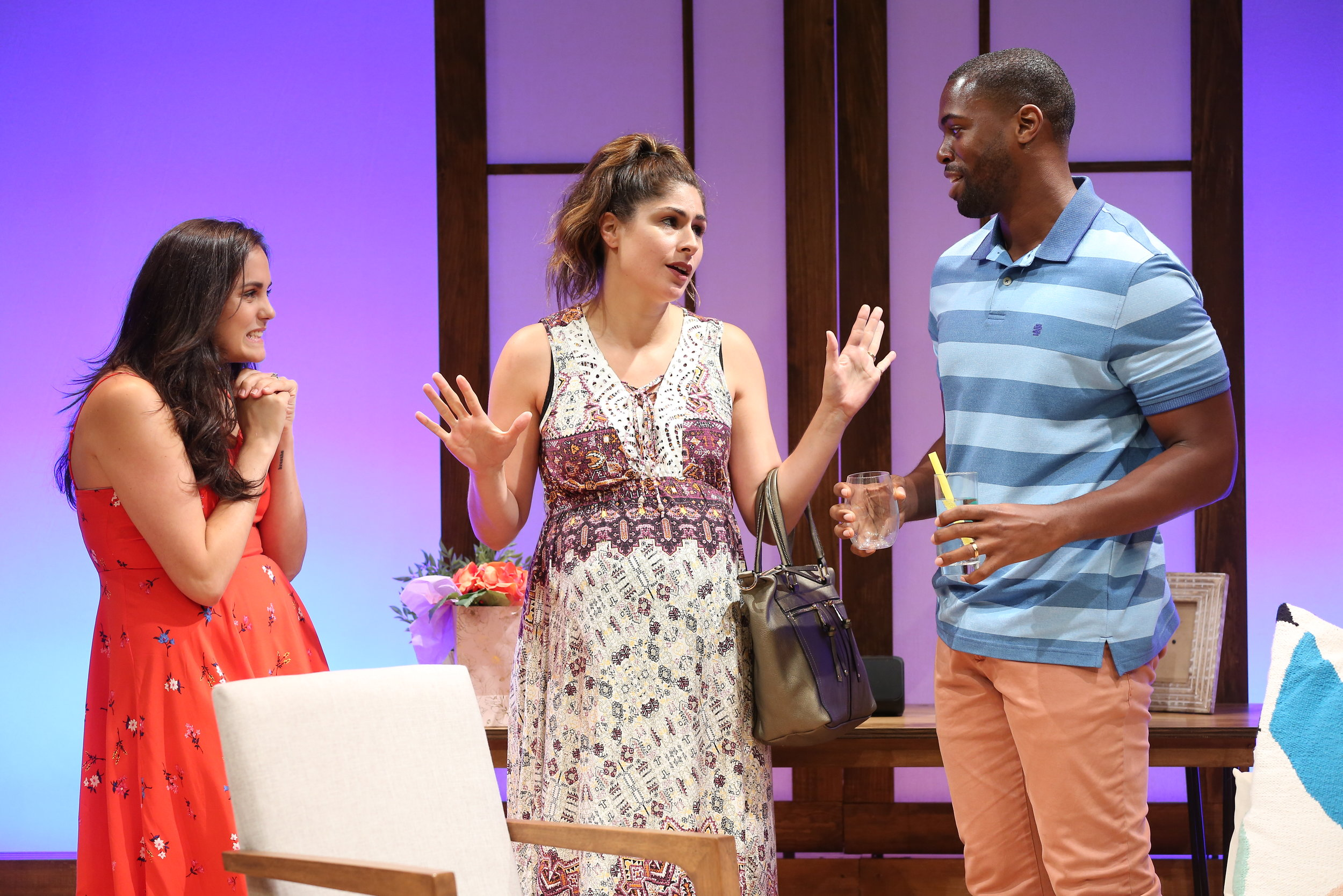 L-R: Rachel Napoleon, Georgia Ximenes Lifsher, Donovan Mitchell in WEDDING BASH by Lindsey Kraft & Andrew Leeds, part of Summer Shorts 2017 at 59E59 Theaters. Photo by Carol Rosegg