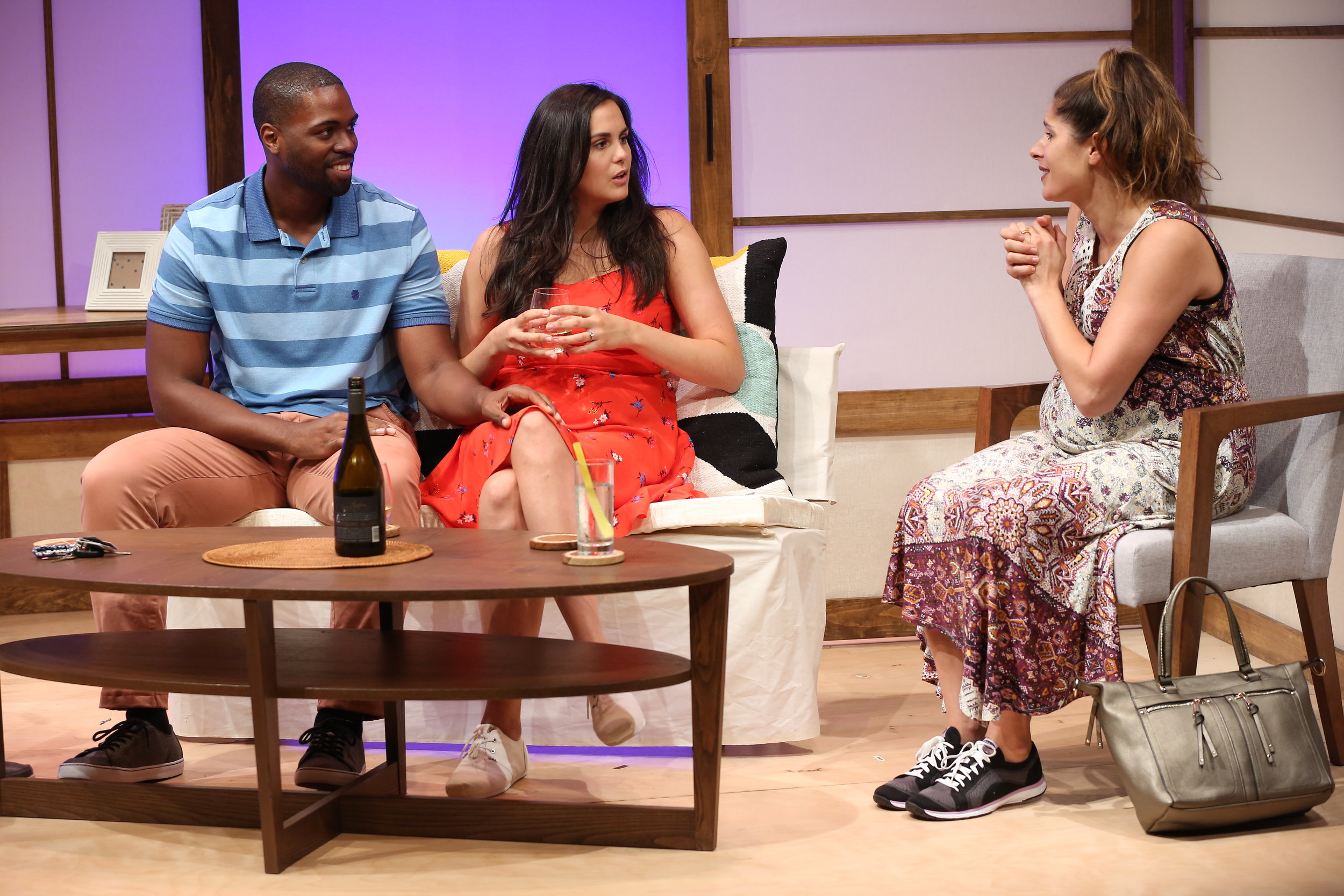 L-R: Donovan Mitchell, Rachel Napoleon, Georgia Ximenes Lifsher in WEDDING BASH by Lindsey Kraft & Andrew Leeds, part of Summer Shorts 2017 at 59E59 Theaters. Photo by Carol Rosegg