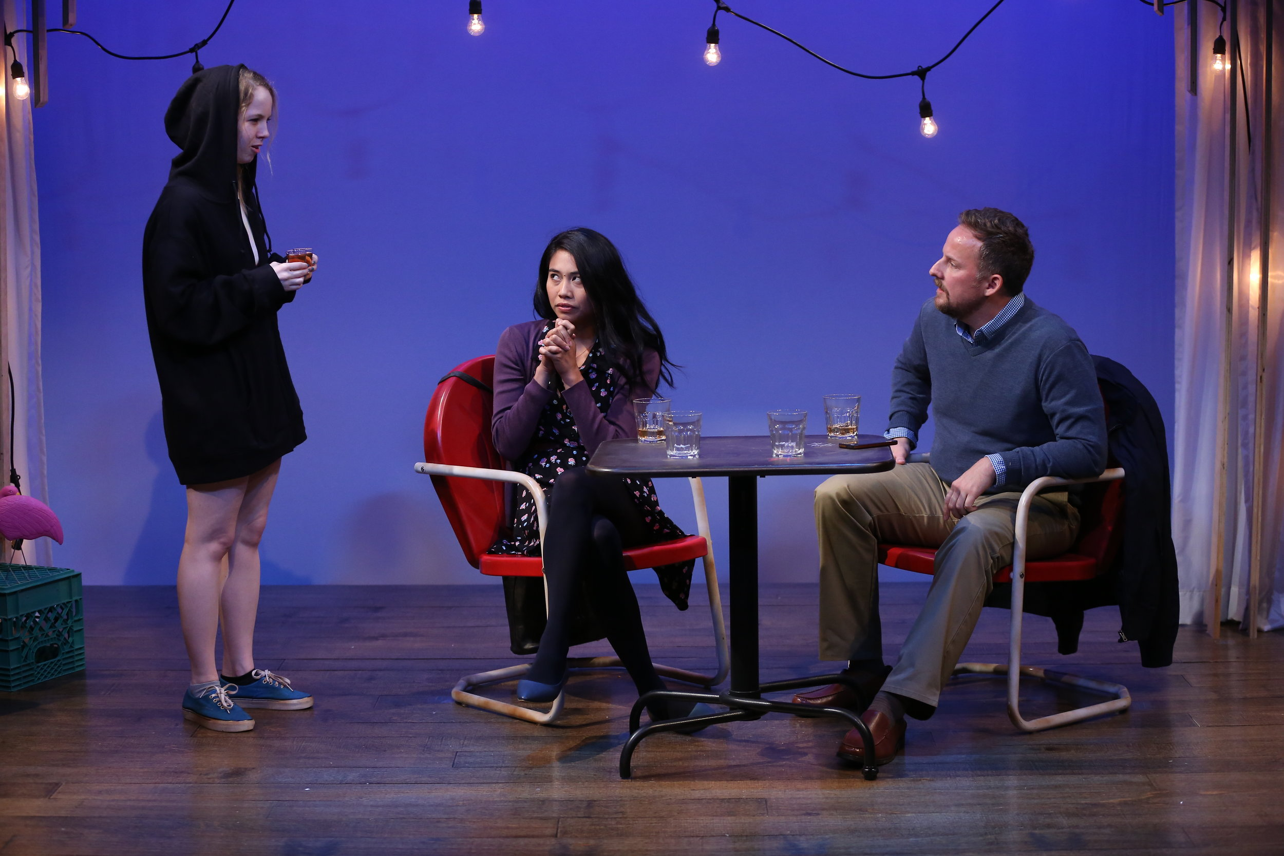 L-R: Mariah Lee, Francesca Fernandez McKenzie and Stephen Guarino in KENNY'S TAVERN by Abby Rosebrock, part of Summer Shorts 2018 at 59E59 Theaters. Photo by Carol Rosegg.