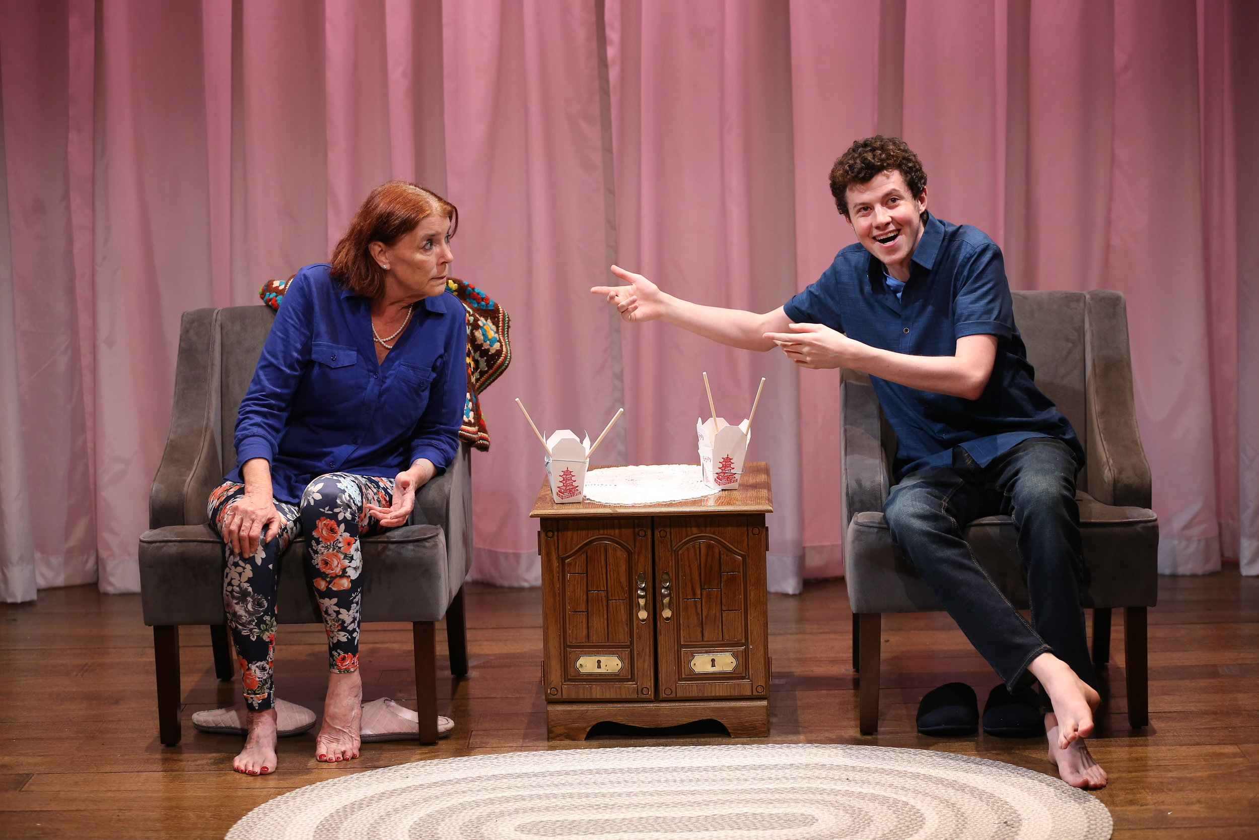 L-R: Kate Buddeke and Adam Langdon in THE LIVING ROOM by Robert O'Hara, part of Summer Shorts 2018 at 59E59 Theaters. Photo by Carol Rosegg.