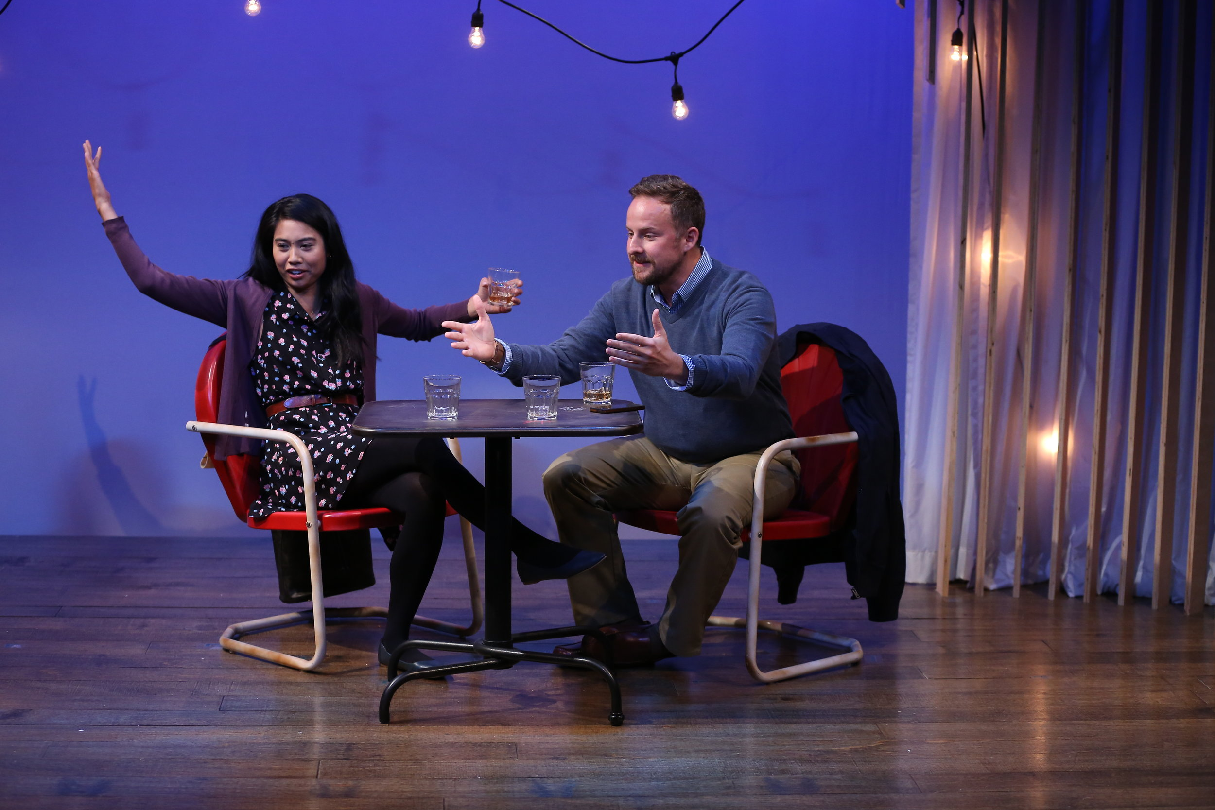 L-R: Mariah Lee, Francesca and Stephen Guarino in KENNY'S TAVERN by Abby Rosebrock, part of Summer Shorts 2018 at 59E59 Theaters. Photo by Carol Rosegg.